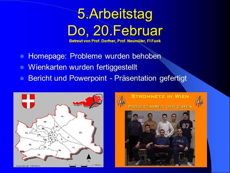 5.Arbeitstag Do, 20.Februar Betreut von Prof. Dorfner, Prof. Neumüler, Fl Funk Homepage: Probleme wurden behoben Wienkarten wurden fertiggestellt Beri