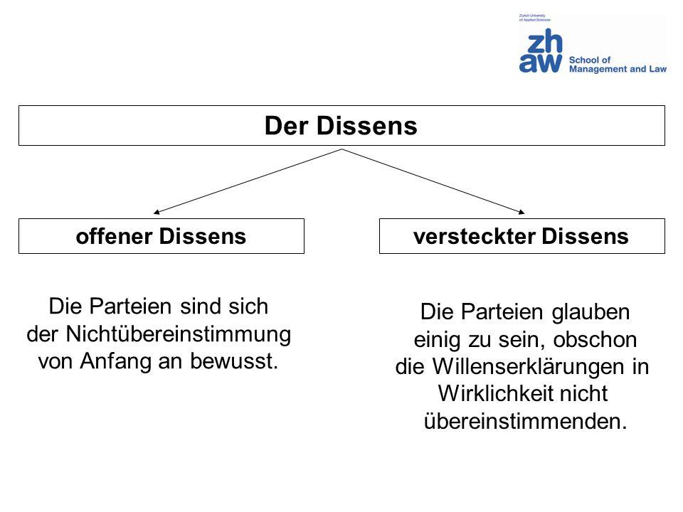 Der Dissens offener Dissensversteckter Dissens Die Parteien sind sich der Nichtübereinstimmung von Anfang an bewusst. Die Parteien glauben einig zu se