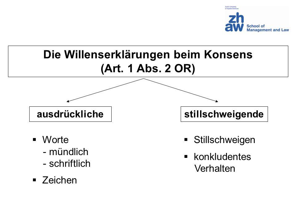 Die Willenserklärungen beim Konsens (Art. 1 Abs. 2 OR) ausdrücklichestillschweigende Worte - mündlich - schriftlich Zeichen Stillschweigen konkludente