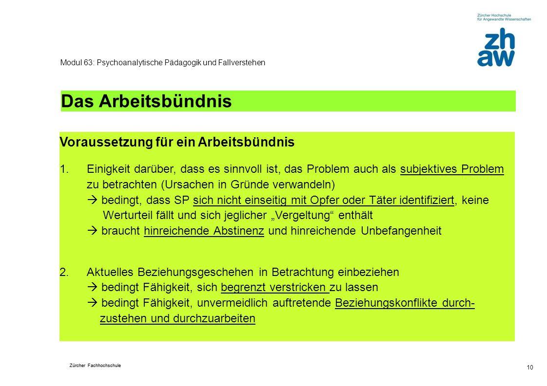 Zürcher Fachhochschule 10 Modul 63: Psychoanalytische Pädagogik und Fallverstehen Das Arbeitsbündnis Voraussetzung für ein Arbeitsbündnis 1.Einigkeit