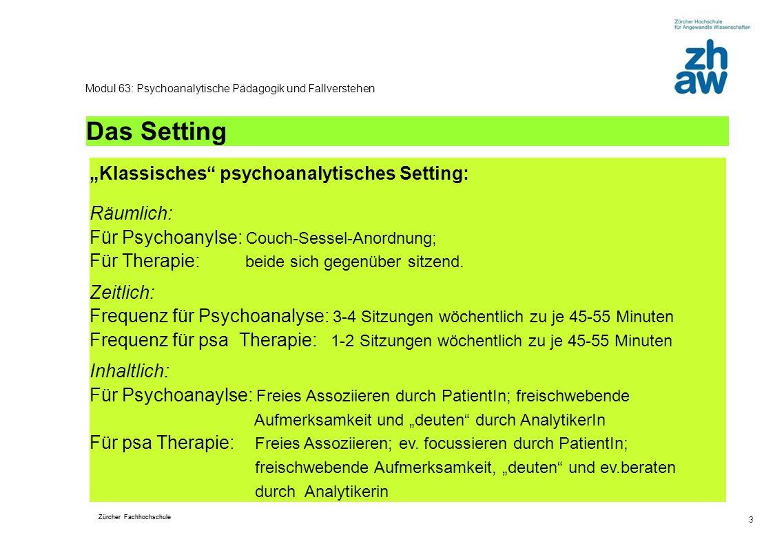 Zürcher Fachhochschule 3 Modul 63: Psychoanalytische Pädagogik und Fallverstehen Das Setting Klassisches psychoanalytisches Setting: Räumlich: Für Psy