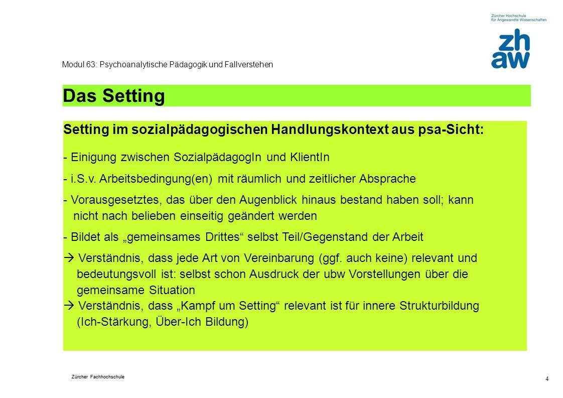 Zürcher Fachhochschule 4 Modul 63: Psychoanalytische Pädagogik und Fallverstehen Das Setting Setting im sozialpädagogischen Handlungskontext aus psa-S