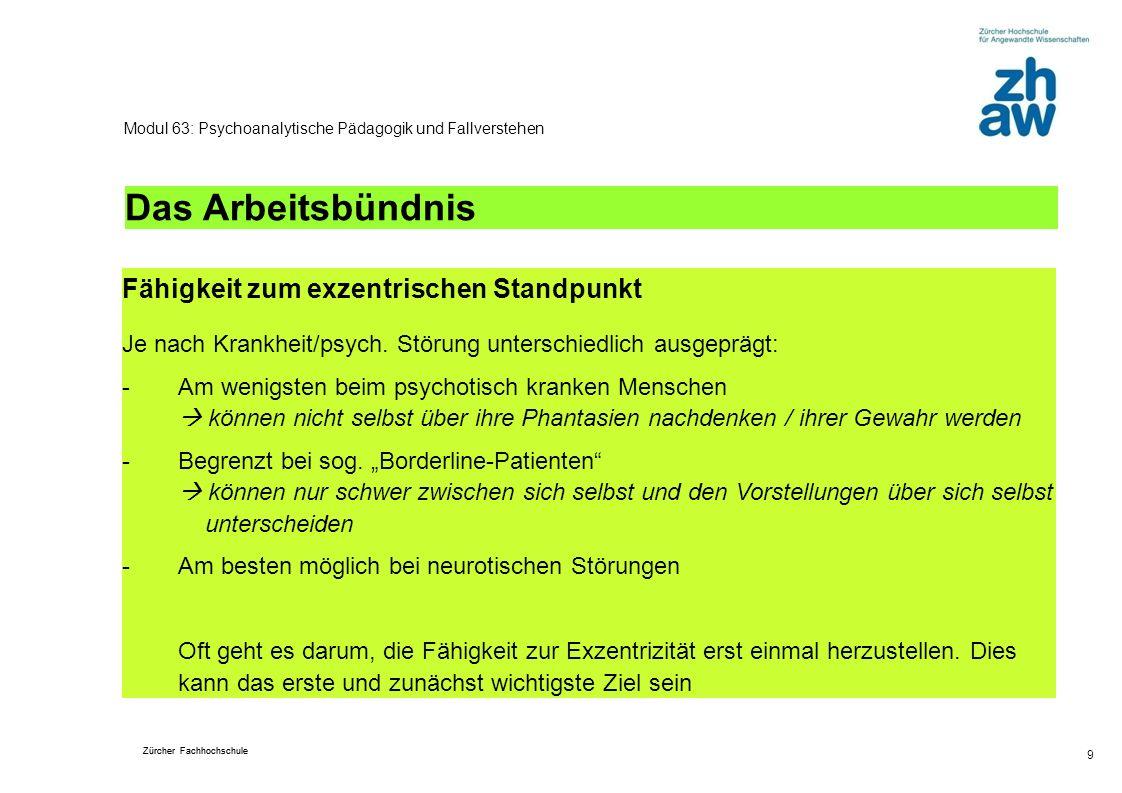 Zürcher Fachhochschule 9 Modul 63: Psychoanalytische Pädagogik und Fallverstehen Das Arbeitsbündnis Fähigkeit zum exzentrischen Standpunkt Je nach Kra