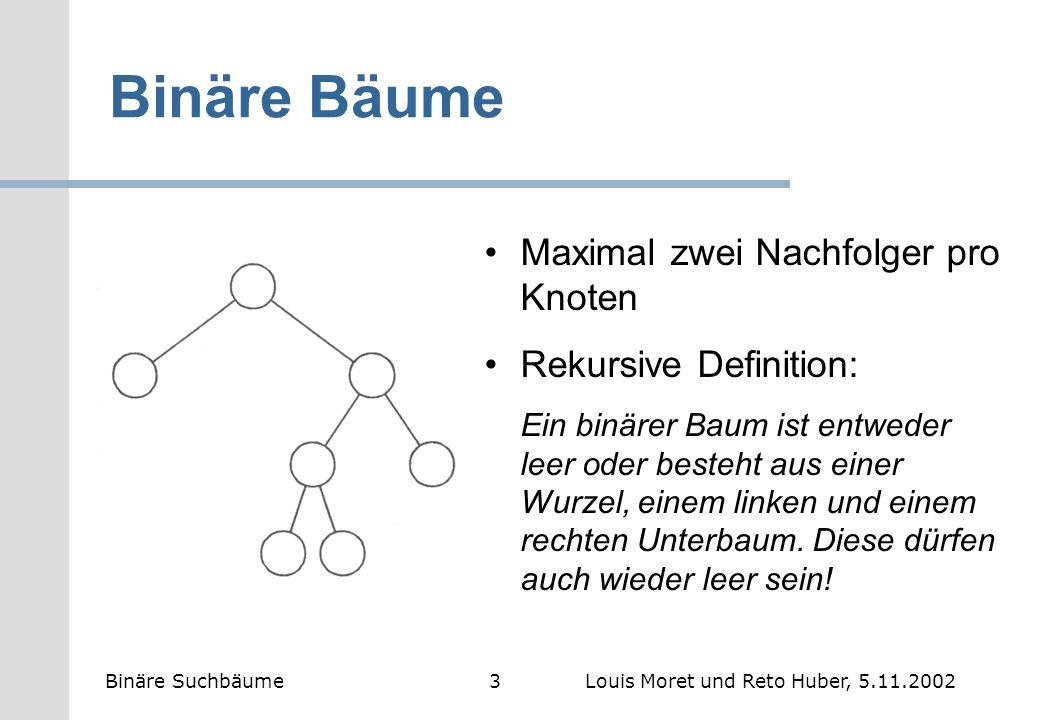 Binäre Bäume Maximal zwei Nachfolger pro Knoten Rekursive Definition: Ein binärer Baum ist entweder leer oder besteht aus einer Wurzel, einem linken u
