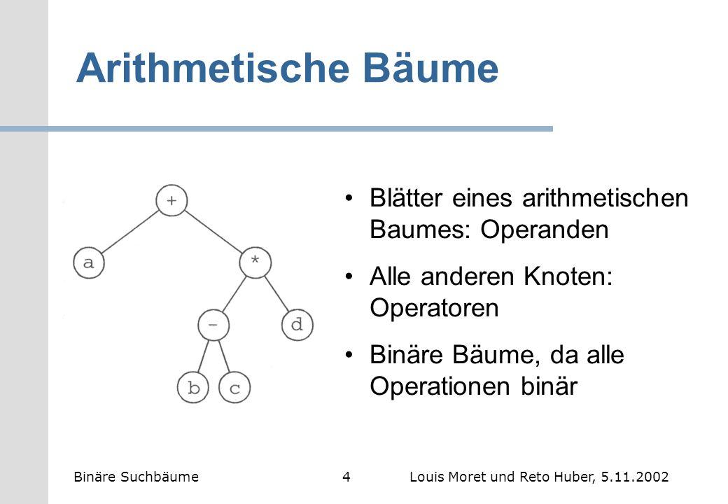 Arithmetische Bäume Blätter eines arithmetischen Baumes: Operanden Alle anderen Knoten: Operatoren Binäre Bäume, da alle Operationen binär Binäre Such