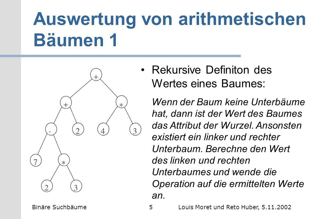 Auswertung von arithmetischen Bäumen 2 2 3 = 6 7-6 = 1 1+2 = 3 4 3 = 12 3+12 = 15 Binäre Suchbäume6Louis Moret und Reto Huber, 5.11.2002