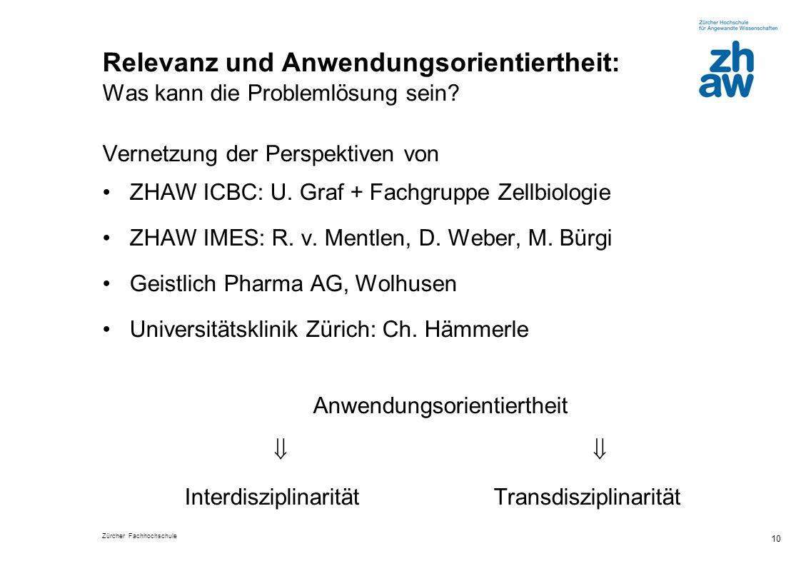 Zürcher Fachhochschule 10 Relevanz und Anwendungsorientiertheit: Was kann die Problemlösung sein? Vernetzung der Perspektiven von ZHAW ICBC: U. Graf +