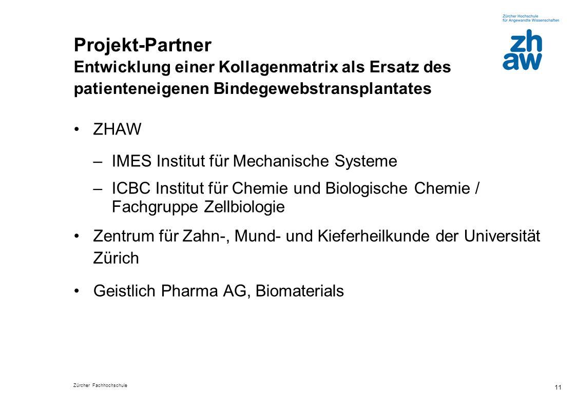 Zürcher Fachhochschule 11 Projekt-Partner Entwicklung einer Kollagenmatrix als Ersatz des patienteneigenen Bindegewebstransplantates ZHAW –IMES Instit