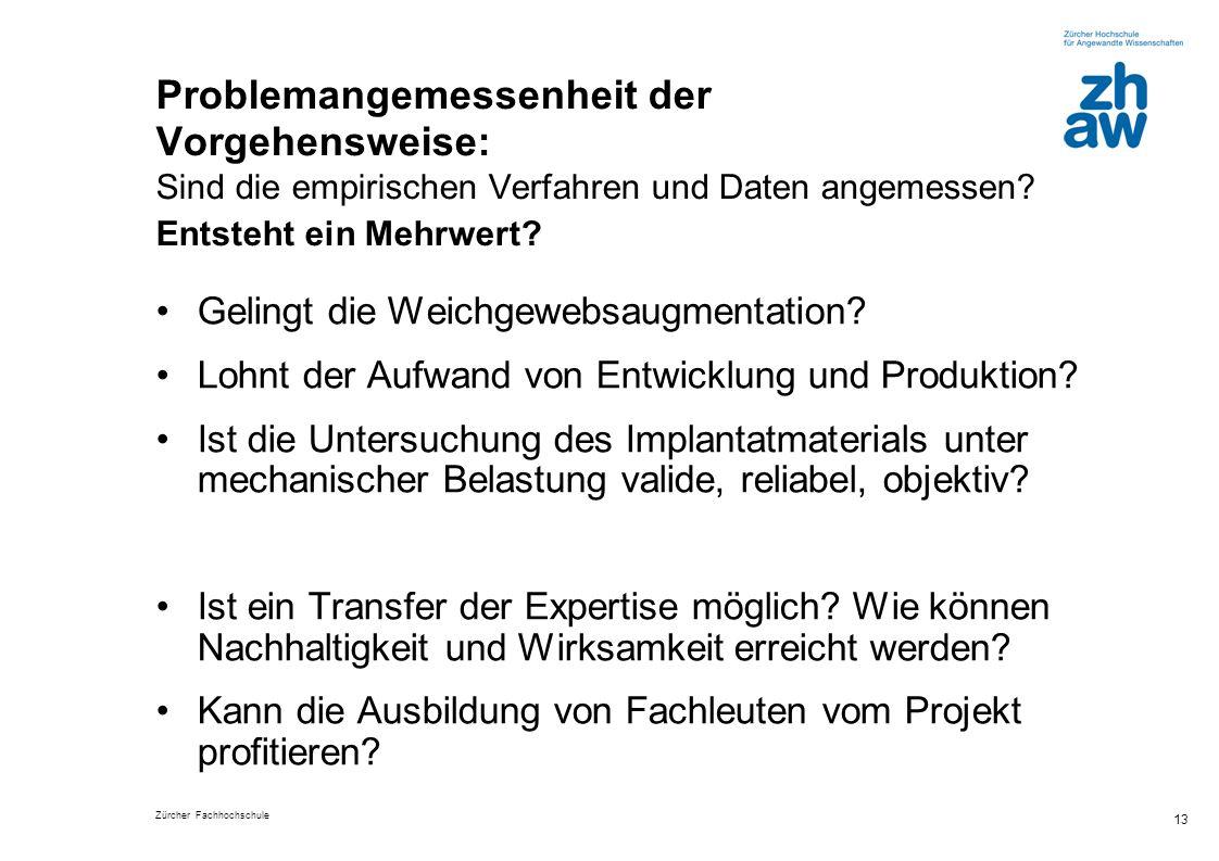 Zürcher Fachhochschule 13 Problemangemessenheit der Vorgehensweise: Sind die empirischen Verfahren und Daten angemessen? Entsteht ein Mehrwert? Geling