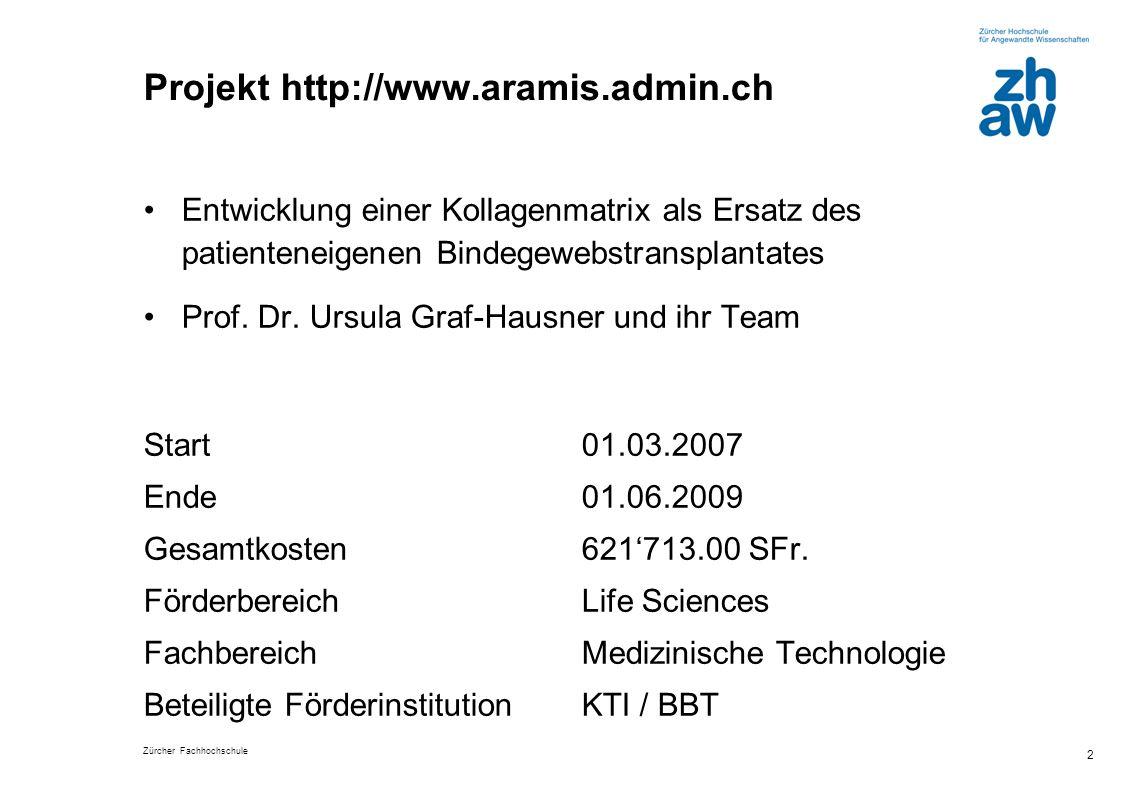 Zürcher Fachhochschule 2 Projekt http://www.aramis.admin.ch Entwicklung einer Kollagenmatrix als Ersatz des patienteneigenen Bindegewebstransplantates