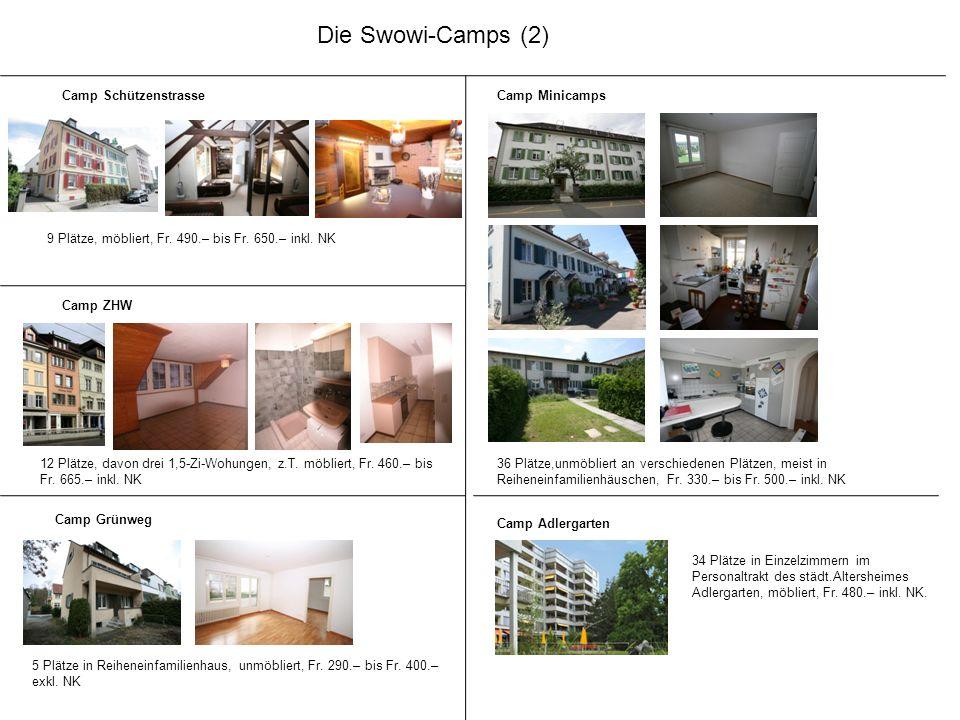 Die Swowi-Camps (2) Camp Schützenstrasse 9 Plätze, möbliert, Fr. 490.– bis Fr. 650.– inkl. NK Camp Minicamps 36 Plätze,unmöbliert an verschiedenen Plä