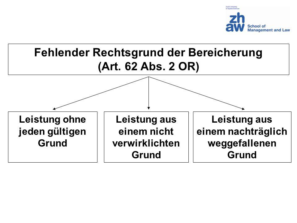 Fehlender Rechtsgrund der Bereicherung (Art. 62 Abs. 2 OR) Leistung ohne jeden gültigen Grund Leistung aus einem nicht verwirklichten Grund Leistung a