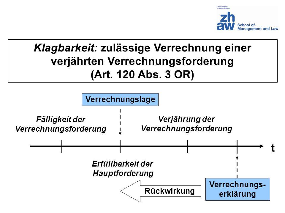 Klagbarkeit: zulässige Verrechnung einer verjährten Verrechnungsforderung (Art. 120 Abs. 3 OR) t Verjährung der Verrechnungsforderung Fälligkeit der V