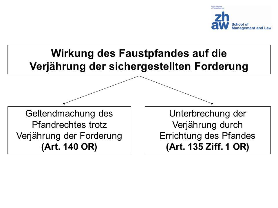 Wirkung des Faustpfandes auf die Verjährung der sichergestellten Forderung Geltendmachung des Pfandrechtes trotz Verjährung der Forderung (Art. 140 OR