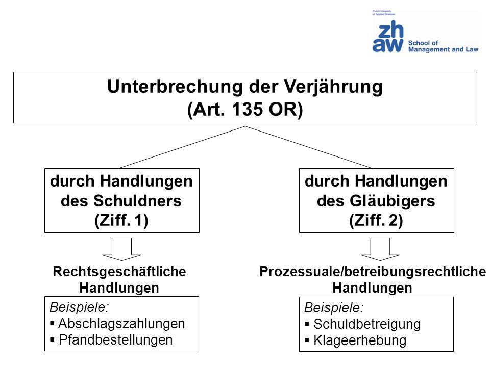 Unterbrechung der Verjährung (Art. 135 OR) durch Handlungen des Schuldners (Ziff. 1) durch Handlungen des Gläubigers (Ziff. 2) Rechtsgeschäftliche Han