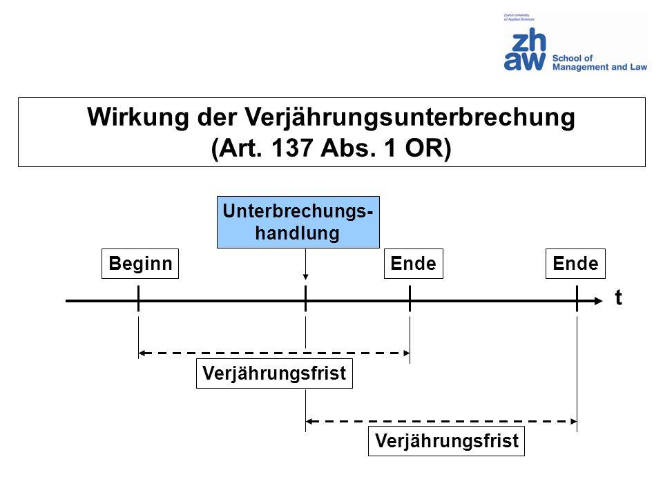 Wirkung der Verjährungsunterbrechung (Art. 137 Abs. 1 OR) t Beginn Unterbrechungs- handlung Verjährungsfrist Ende