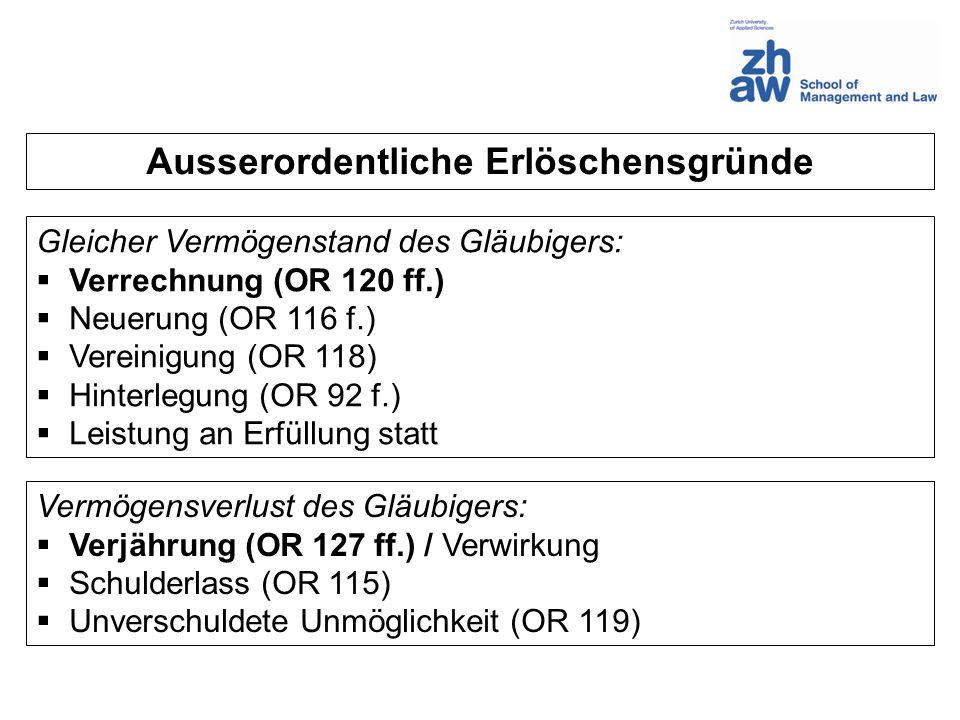 Ausserordentliche Erlöschensgründe Gleicher Vermögenstand des Gläubigers: Verrechnung (OR 120 ff.) Neuerung (OR 116 f.) Vereinigung (OR 118) Hinterleg