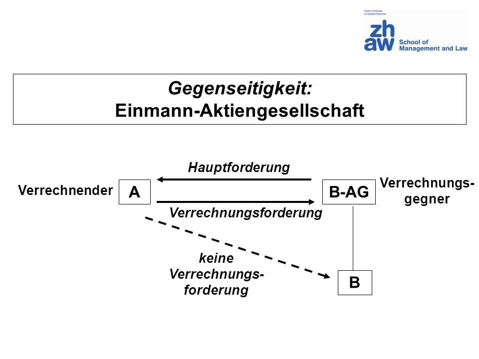 Gegenseitigkeit: Einmann-Aktiengesellschaft AB-AG B Hauptforderung Verrechnungsforderung keine Verrechnungs- forderung Verrechnender Verrechnungs- geg