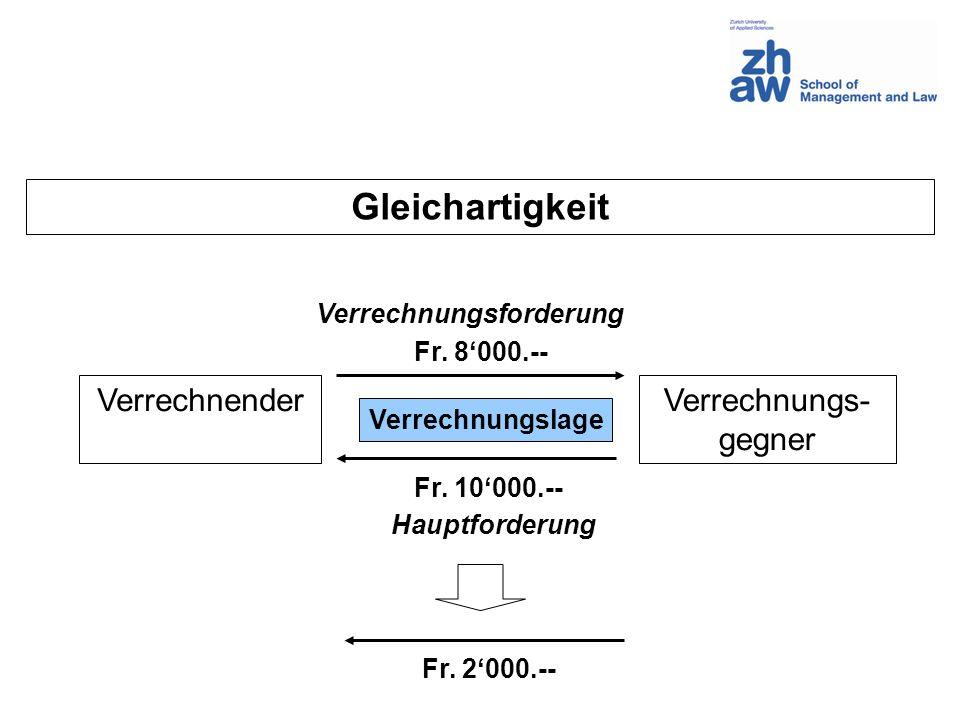 Gleichartigkeit VerrechnenderVerrechnungs- gegner Verrechnungsforderung Hauptforderung Verrechnungslage Fr. 8000.-- Fr. 10000.-- Fr. 2000.--
