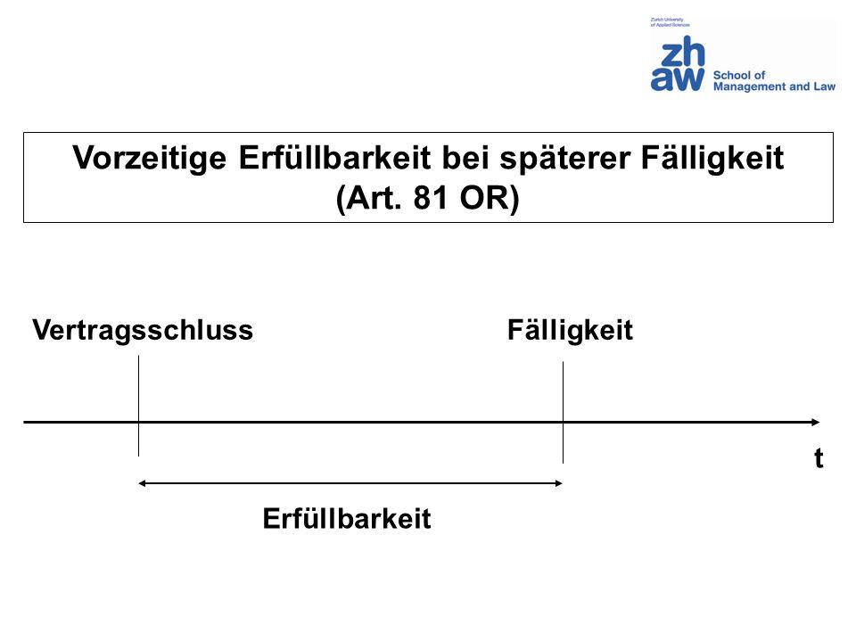 Vorzeitige Erfüllbarkeit bei späterer Fälligkeit (Art. 81 OR) Erfüllbarkeit Fälligkeit t Vertragsschluss