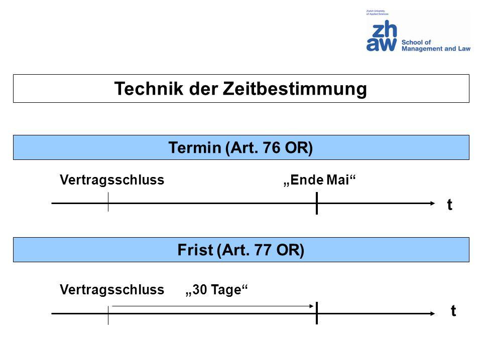 Technik der Zeitbestimmung Termin (Art. 76 OR) Frist (Art. 77 OR) t t Vertragsschluss Ende Mai 30 Tage