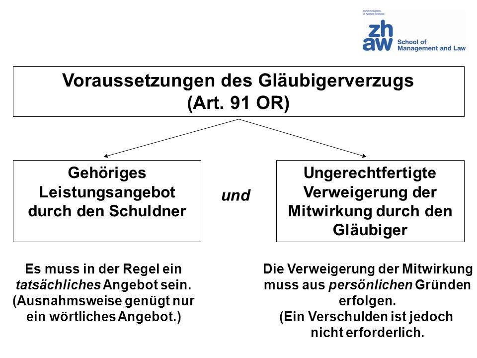 Voraussetzungen des Gläubigerverzugs (Art. 91 OR) Gehöriges Leistungsangebot durch den Schuldner Ungerechtfertigte Verweigerung der Mitwirkung durch d