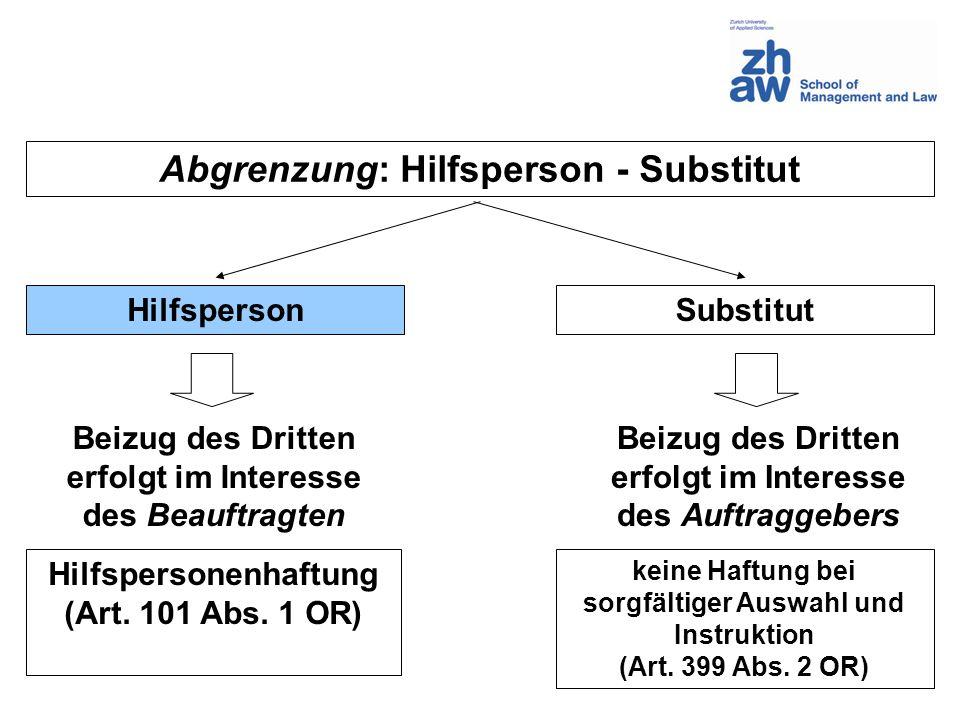 Abgrenzung: Hilfsperson - Substitut HilfspersonSubstitut Hilfspersonenhaftung (Art. 101 Abs. 1 OR) keine Haftung bei sorgfältiger Auswahl und Instrukt