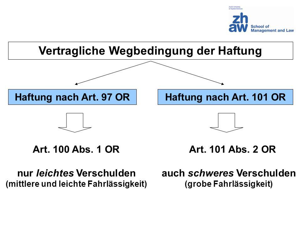 Vertragliche Wegbedingung der Haftung Haftung nach Art. 97 ORHaftung nach Art. 101 OR nur leichtes Verschulden (mittlere und leichte Fahrlässigkeit) a