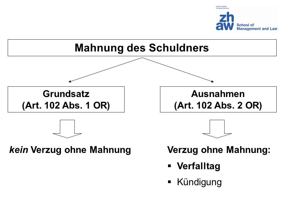 Mahnung des Schuldners Grundsatz (Art. 102 Abs. 1 OR) Ausnahmen (Art. 102 Abs. 2 OR) kein Verzug ohne MahnungVerzug ohne Mahnung: Verfalltag Kündigung