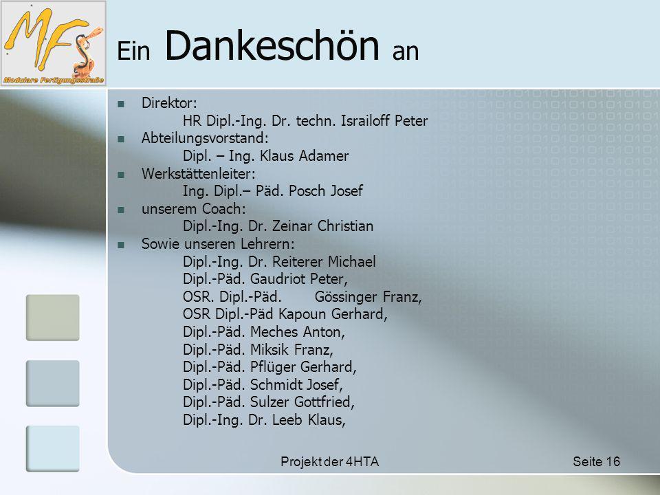 Projekt der 4HTASeite 16 Ein Dankeschön an Direktor: HR Dipl.-Ing.