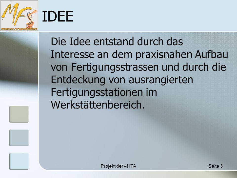 Projekt der 4HTASeite 3 IDEE Die Idee entstand durch das Interesse an dem praxisnahen Aufbau von Fertigungsstrassen und durch die Entdeckung von ausrangierten Fertigungsstationen im Werkstättenbereich.