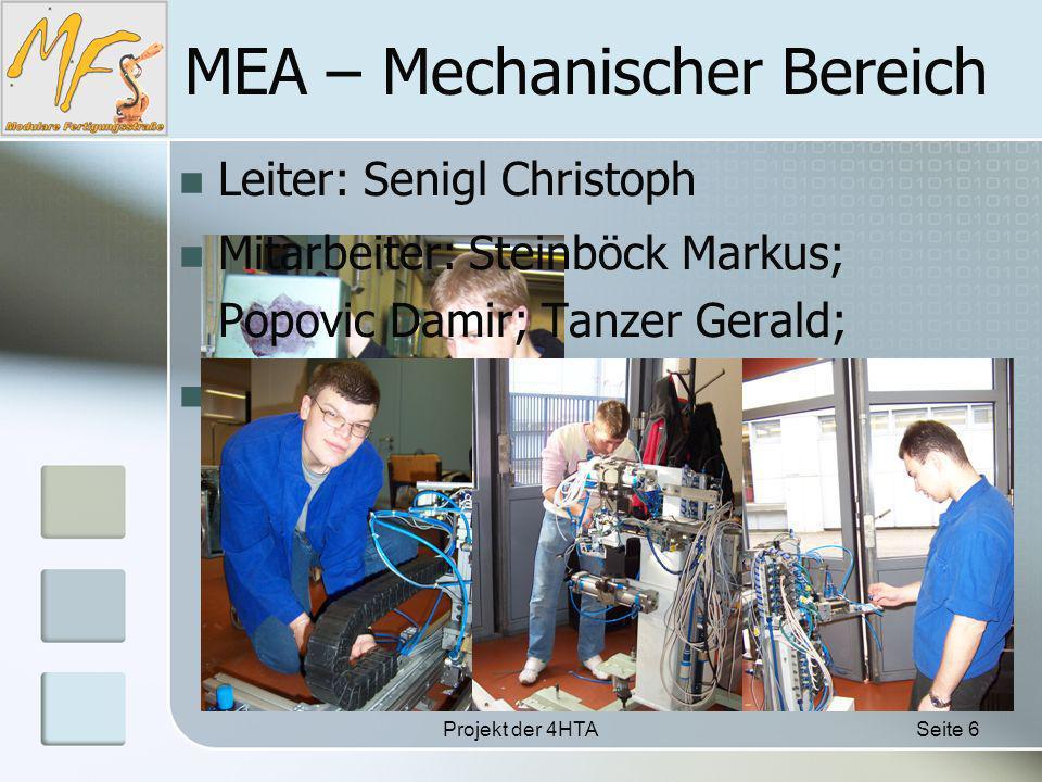 Projekt der 4HTASeite 6 MEA – Mechanischer Bereich Mitarbeiter: Steinböck Markus; Popovic Damir; Tanzer Gerald; Leiter: Senigl Christoph Aufgabe: Sie waren für die Fertigung der gesamten Anlage (ausgenommen der ausrangierten Teile) zuständig.