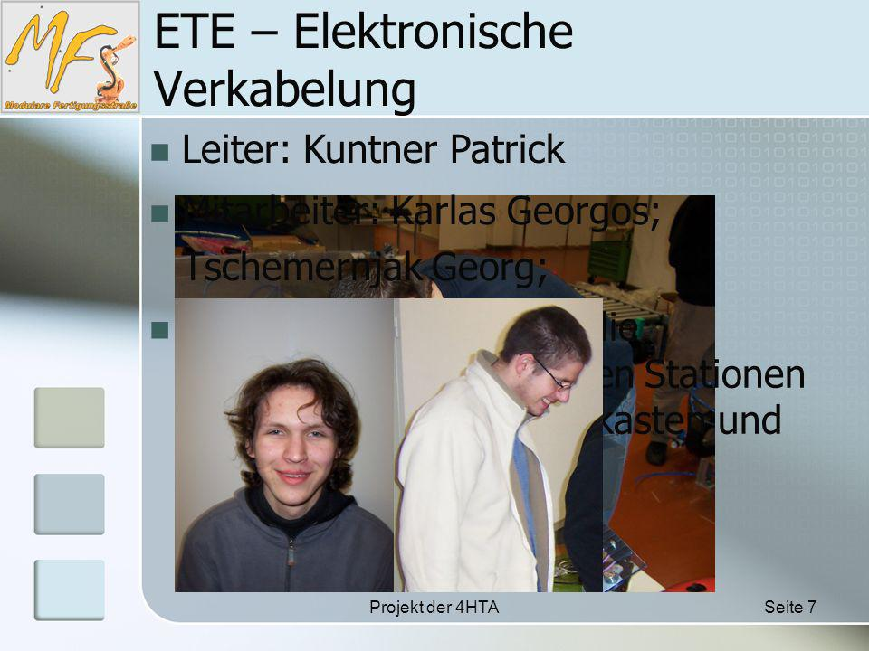 Projekt der 4HTASeite 7 ETE – Elektronische Verkabelung Leiter: Kuntner Patrick Mitarbeiter: Karlas Georgos; Tschemernjak Georg; Aufgabe: Sie waren für die Verkabelung der einzelnen Stationen sowie des Zentral Schaltkasten und der SPS zuständig.