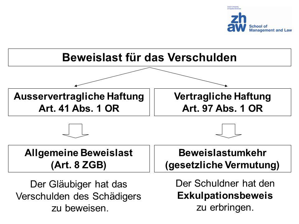 Beweislast für das Verschulden Ausservertragliche Haftung Art. 41 Abs. 1 OR Vertragliche Haftung Art. 97 Abs. 1 OR Allgemeine Beweislast (Art. 8 ZGB)