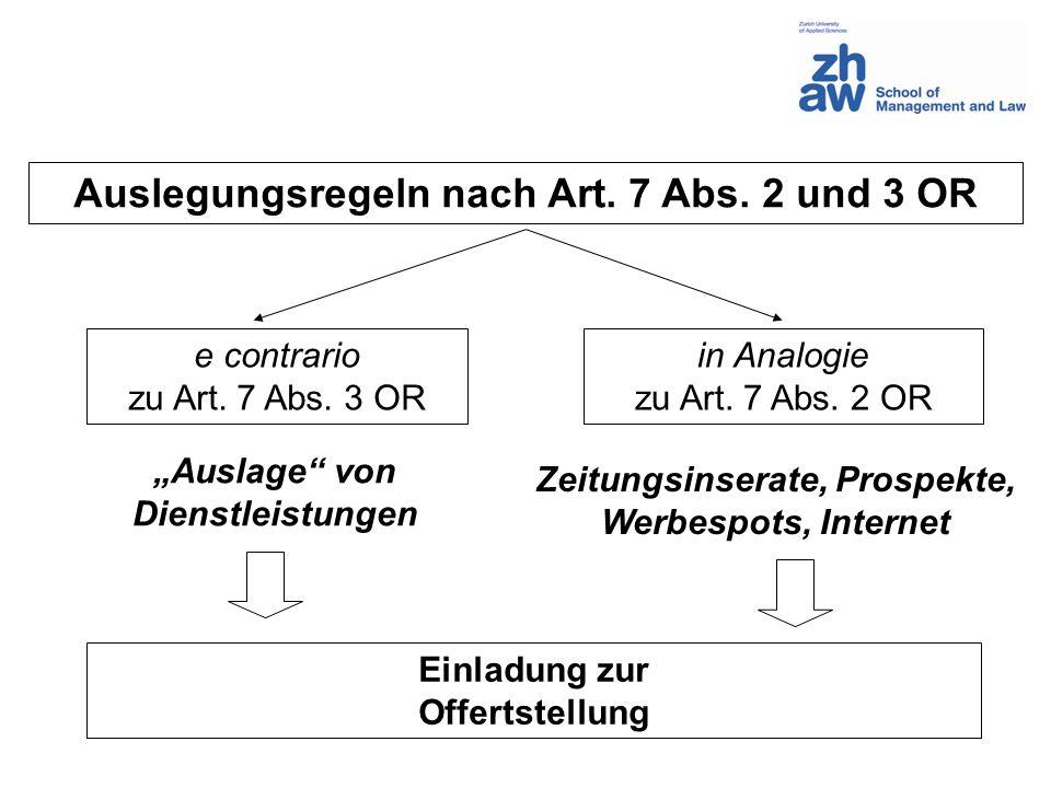 e contrario zu Art.7 Abs. 3 OR in Analogie zu Art.