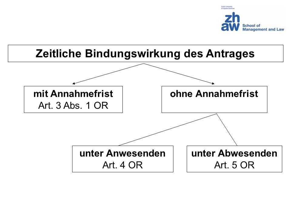 Zeitliche Bindungswirkung des Antrages mit Annahmefrist Art.