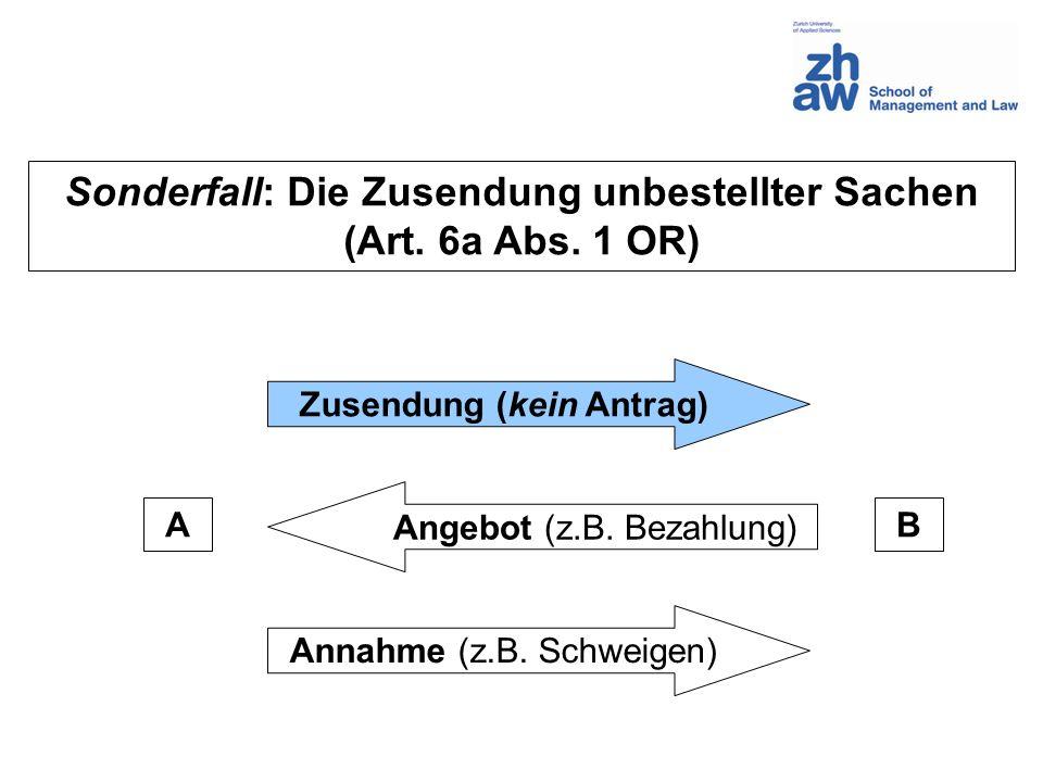 AB Zusendung (kein Antrag) Angebot (z.B.Bezahlung) Annahme (z.B.