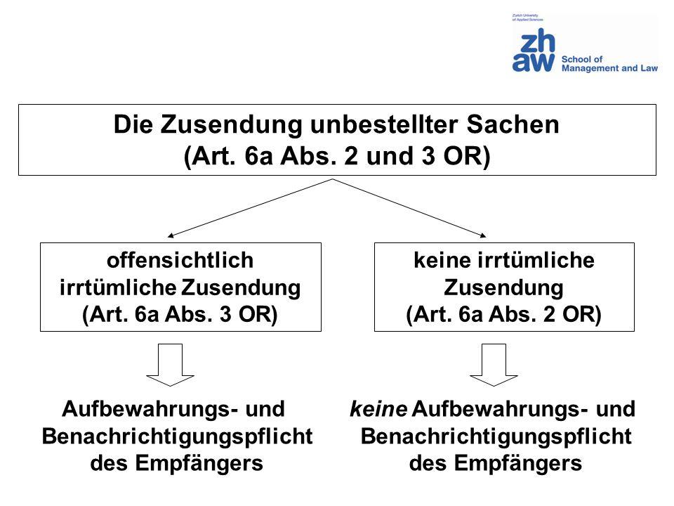 Die Zusendung unbestellter Sachen (Art.6a Abs.