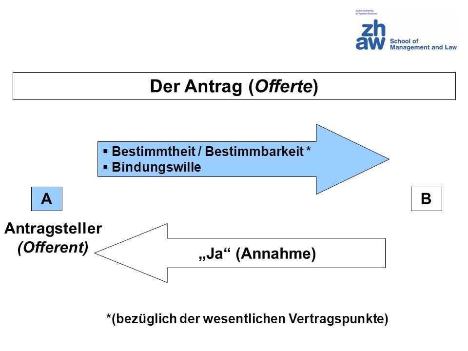 Der Antrag (Offerte) AB Bestimmtheit / Bestimmbarkeit * Bindungswille Ja (Annahme) *(bezüglich der wesentlichen Vertragspunkte) Antragsteller (Offerent)