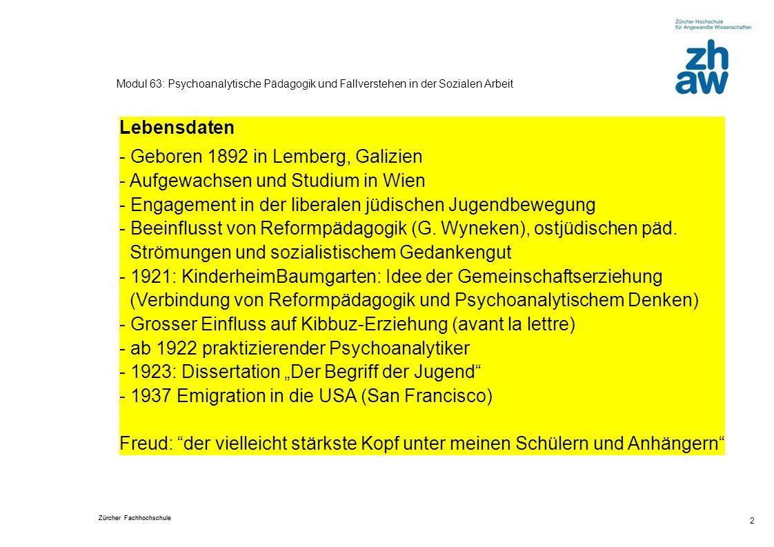 Zürcher Fachhochschule 2 Modul 63: Psychoanalytische Pädagogik und Fallverstehen in der Sozialen Arbeit Lebensdaten - Geboren 1892 in Lemberg, Galizie