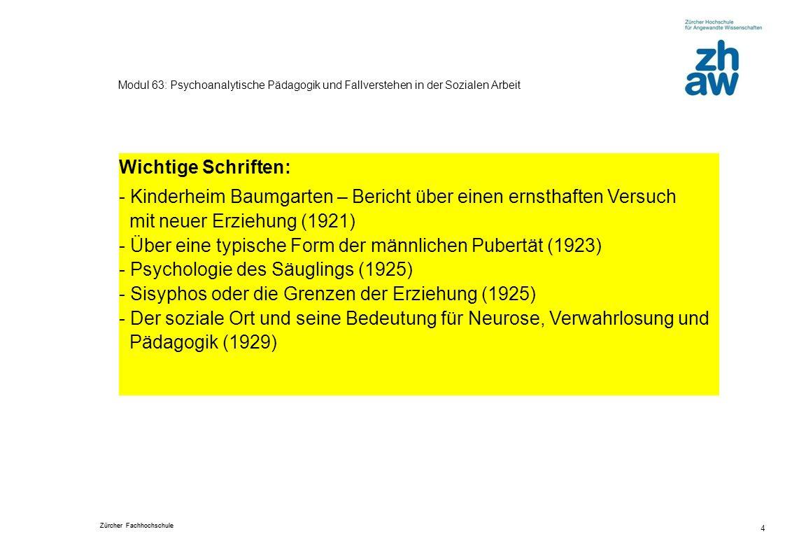 Zürcher Fachhochschule 4 Modul 63: Psychoanalytische Pädagogik und Fallverstehen in der Sozialen Arbeit Wichtige Schriften: - Kinderheim Baumgarten –