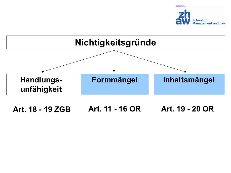 Inhalt des Vertrages (Art.19 – 20 OR) Inhaltsfreiheit (Art.