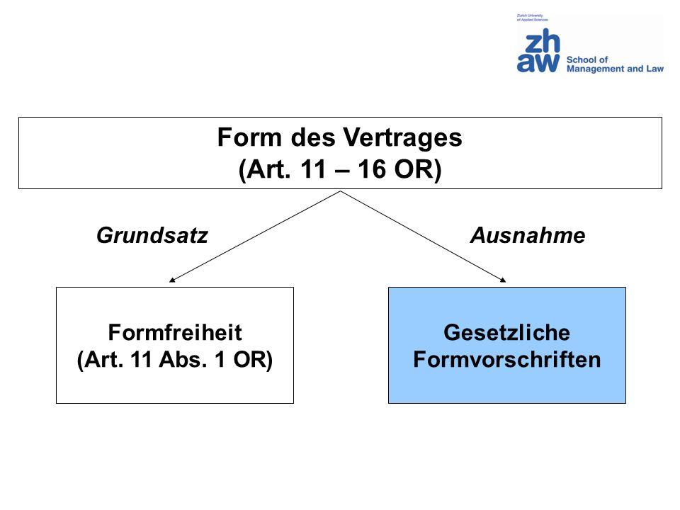 Zweck der Formvorschriften Warnfunktion (Schutz vor Übereilung) Rechtssicherheit (Beweismittel) Rechtsklarheit (öffentliche Register) Information (Konsumentenschutz)