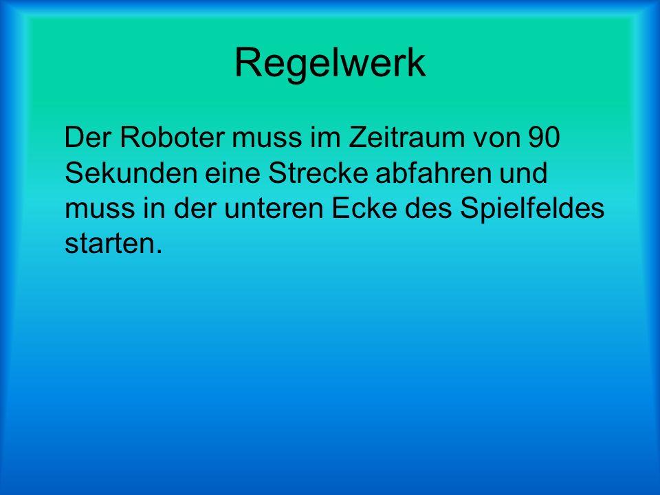 Regelwerk Der Roboter muss im Zeitraum von 90 Sekunden eine Strecke abfahren und muss in der unteren Ecke des Spielfeldes starten.