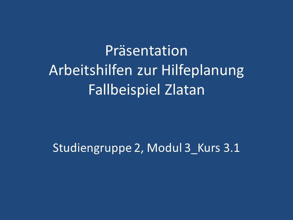 Präsentation Arbeitshilfen zur Hilfeplanung Fallbeispiel Zlatan Studiengruppe 2, Modul 3_Kurs 3.1