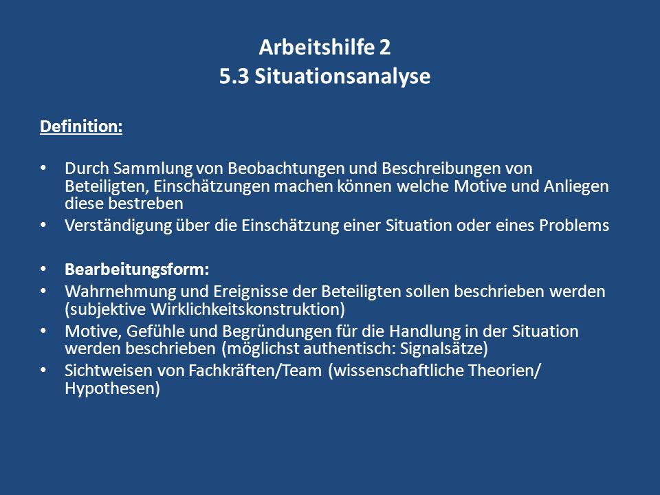 Arbeitshilfe 2 5.3 Situationsanalyse Definition: Durch Sammlung von Beobachtungen und Beschreibungen von Beteiligten, Einschätzungen machen können wel