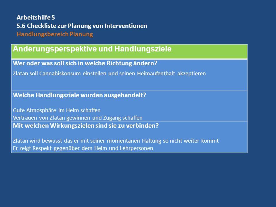 Arbeitshilfe 5 5.6 Checkliste zur Planung von Interventionen Handlungsbereich Planung Änderungsperspektive und Handlungsziele Wer oder was soll sich i