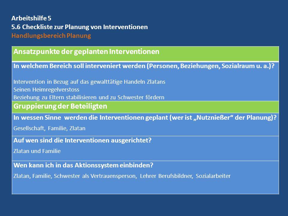 Arbeitshilfe 5 5.6 Checkliste zur Planung von Interventionen Handlungsbereich Planung Ansatzpunkte der geplanten Interventionen In welchem Bereich sol