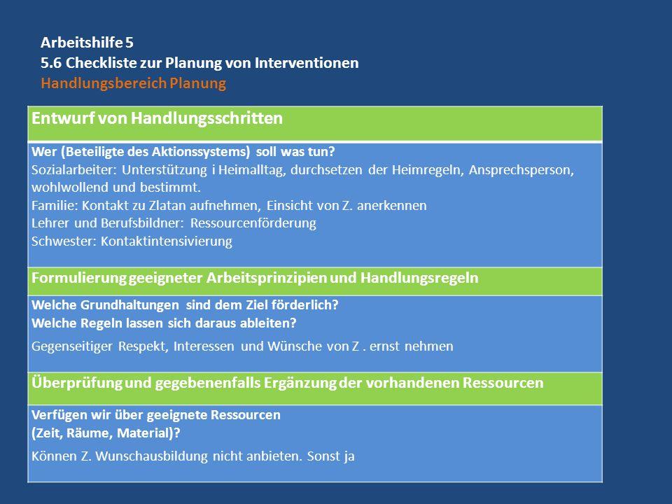 Arbeitshilfe 5 5.6 Checkliste zur Planung von Interventionen Handlungsbereich Planung Entwurf von Handlungsschritten Wer (Beteiligte des Aktionssystem