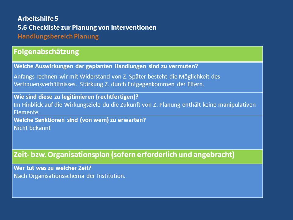 Arbeitshilfe 5 5.6 Checkliste zur Planung von Interventionen Handlungsbereich Planung Folgenabschätzung Welche Auswirkungen der geplanten Handlungen s
